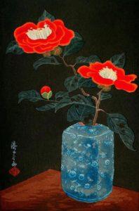 © Yoshijiro Urushibara - Camélias dans un vase, Japon 1930